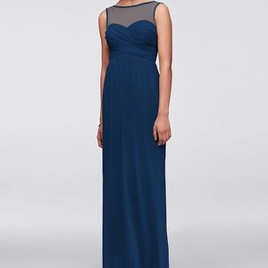 Long Mesh Dress with Illusion Sweetheart Neckline